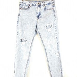 Pull&Bear | Acid Wash Distressed Raw Hem Moto Jean